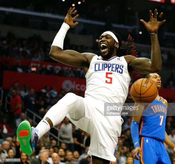 Montrezl Harrell of the Los Angeles Clippers reacts after a dunk during the second half against the Oklahoma City Thunder at Staples Center on...