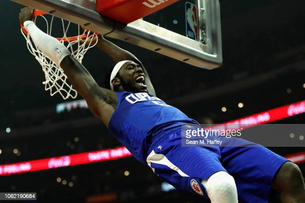 Montrezl Harrell of the Los Angeles Clippers reacts after dunking a ball during the first half of a game against the San Antonio Spurs at Staples...