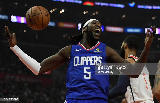 Montrezl Harrell of the Los Angeles Clippers reacts to being fouled in the first half against the Washington Wizards at Staples Center on October 28...