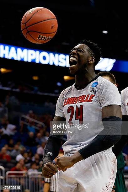 Montrezl Harrell of the Louisville Cardinals celebrates after a basket and the foul in the first half against the Manhattan Jaspers during the second...
