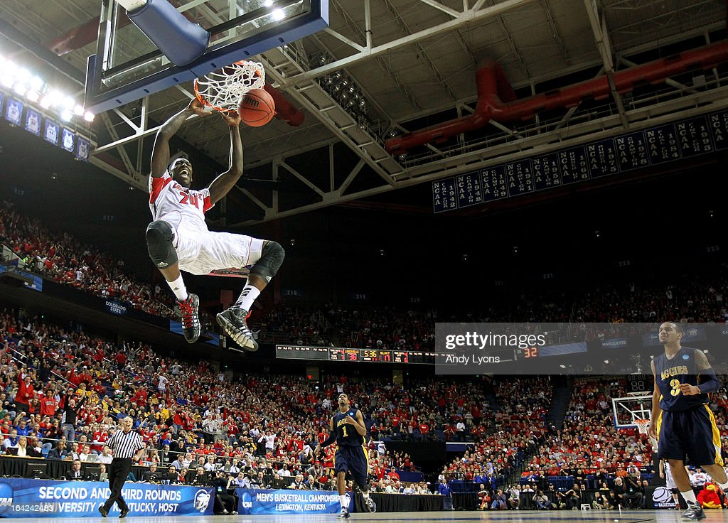 Montrezl Harrell #24 of the Louisville Cardinals dunks against the North Carolina A&T Aggies during the second round of the 2013 NCAA Men's Basketball Tournament at the Rupp Arena on March 21, 2013 in Lexington, Kentucky.