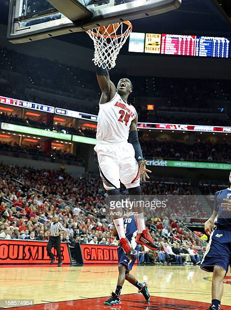 Montrezl Harrell of the Louisville Cardinals dunks the ball during the game against the Florida International Panthers in the Billy Minardi Classic...