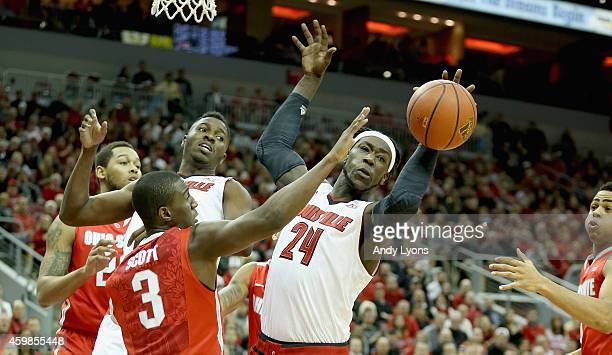 Montrezl Harrell of the Louisville Cardinals reaches for the ball during the game against the Ohio State Buckeyes at KFC YUM Center on December 2...