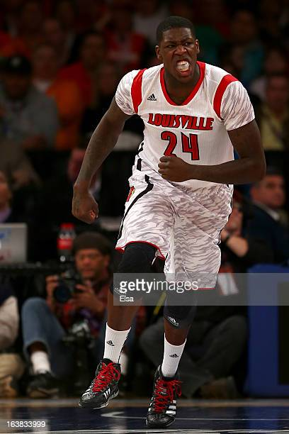 Montrezl Harrell of the Louisville Cardinals reacta after he dunked the ball in the first half against the Syracuse Orange during the final of the...