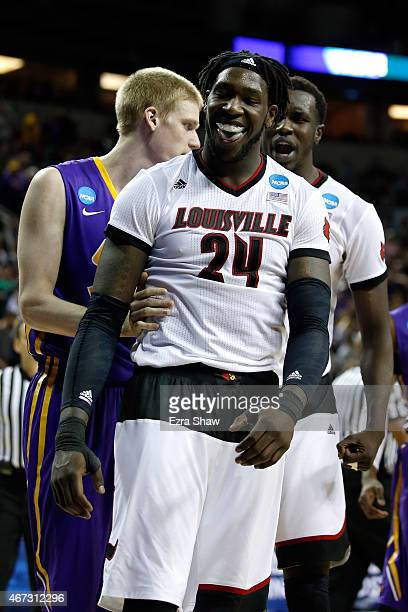 Montrezl Harrell of the Louisville Cardinals reacts after a dunk in the second half of the game against the Northern Iowa Panthers during the third...