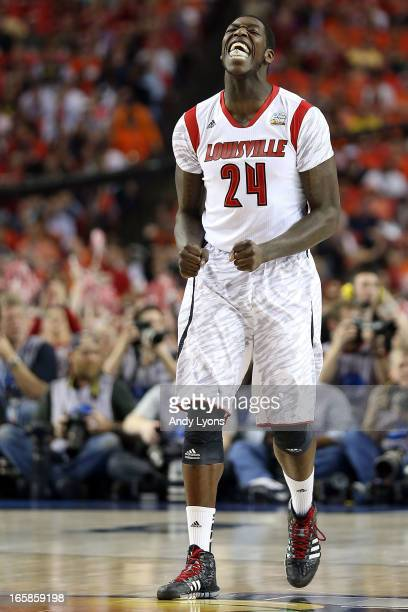 Montrezl Harrell of the Louisville Cardinals reacts in the first half against the Wichita State Shockers during the 2013 NCAA Men's Final Four...