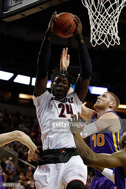 Montrezl Harrell of the Louisville Cardinals rebounds the ball against Seth Tuttle of the Northern Iowa Panthers in the second half of the game...