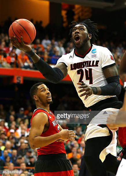 Montrezl Harrell of the Louisville Cardinals shoots the ball in the first half of the game against the North Carolina State Wolfpack during the East...
