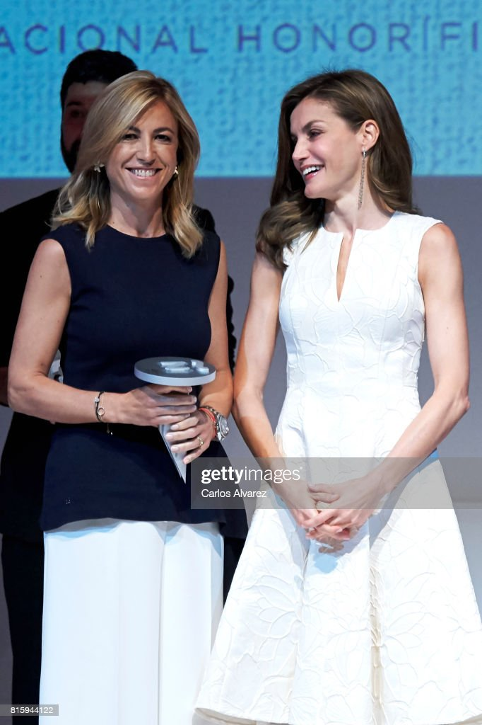 Montse Ribas of Puig (L) receives from Queen Letizia of Spain (R) the National Fashion Award 2017 at Museo del Traje on July 17, 2017 in Madrid, Spain.