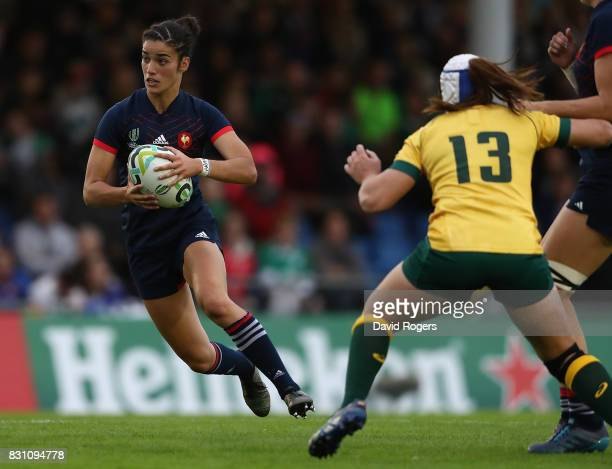 Montserrat Amedee of France makes a break during the Women's Rugby World Cup 2017 match between France and Australia on August 13 2017 in Dublin...