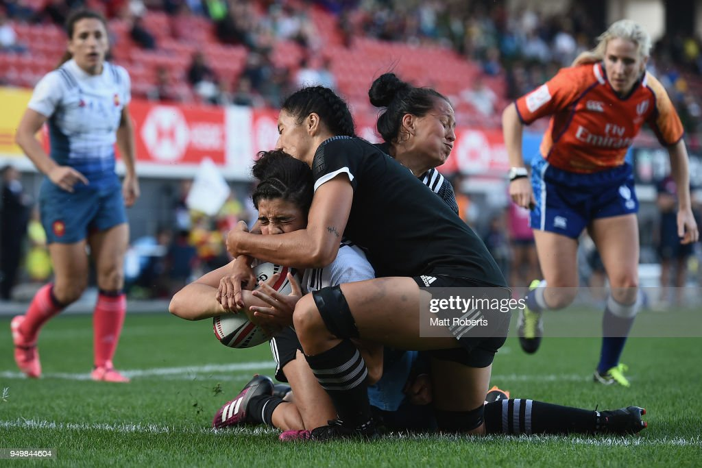 Montserrat Amedee of France scores a try during the Cup final on day two of the HSBC Women's Rugby Sevens Kitakyushu at Mikuni World Stadium Kitakyushu on April 22, 2018 in Kitakyushu, Fukuoka, Japan.