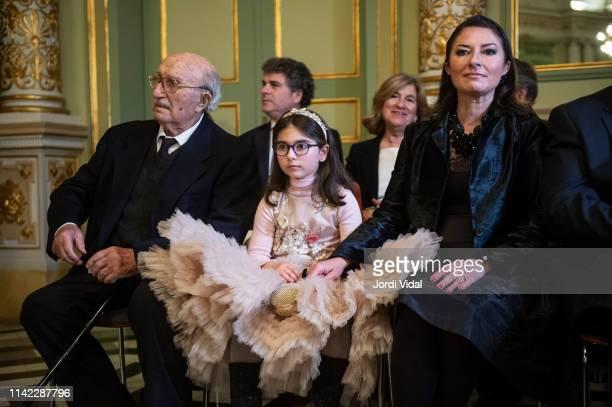 Montserrat Caballe husband Bernabe Marti granddaughter Daniela Faidella and daughter Montserrat Marti attend the postume delivery of the Golden Medal...