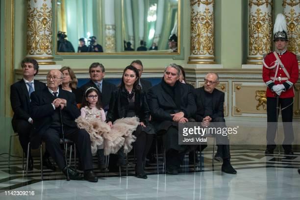 Montserrat Caballe husband Bernabe Marti granddaughter Daniela Faidella daughter Montserrat Marti son Bernabe Marti Caballe and Lluis Pascual attend...