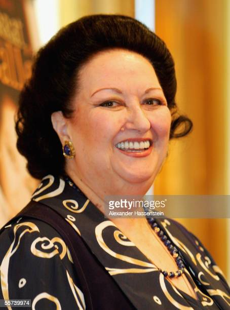 Montserrat Caballe poses for the photographers during a Press Conference at the Intercontinental Hotel in Hamburg.