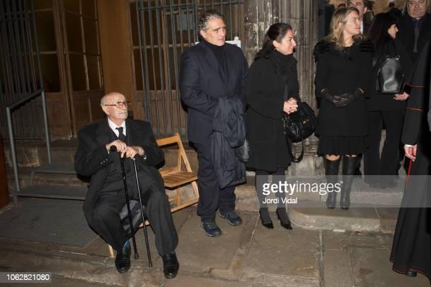 Montserrat Caballe's husband Bernabe Martinez and Montserrat Marti attend the tribute for the Spanish opera singer Montserrat Caballe at Barcelona...
