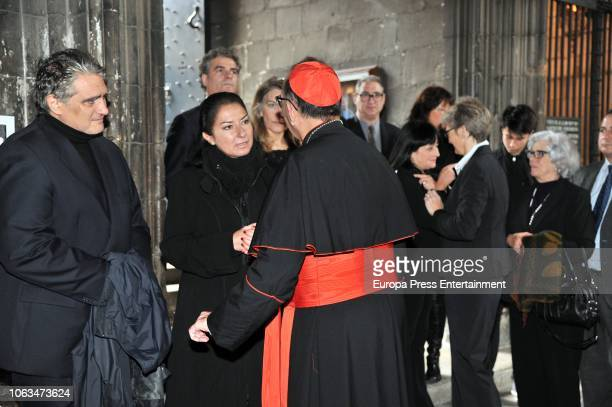 Montserrat Caballe's son Bernabe Marti jr and daughter Montserrat Marti attend the funeral for the soprano Montserrat Caballe who died aged 85 at...