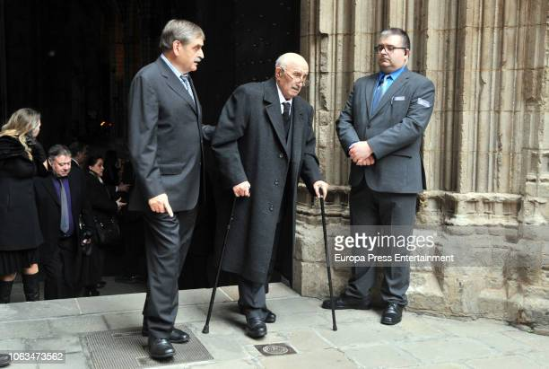 Montserrat Caballe's widower Bernabe Marti attends the funeral for the soprano Montserrat Caballe who died aged 85 at Barcelona Cathedral on November...
