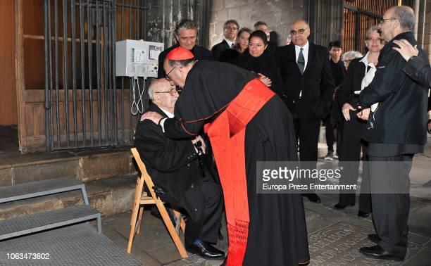 Montserrat Caballe's widower Bernabe Marti son Bernabe Marti jr and daughter Montserrat Marti attend the funeral for the soprano Montserrat Caballe...