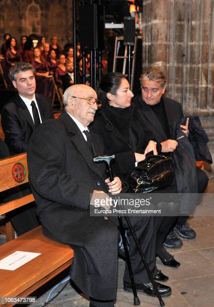 Montserrat Caballe's widower Bernabe Marti son Bernabe Marti jr daughter Montserrat Marti and her husband Carlos de Navas Mir attend the funeral for...