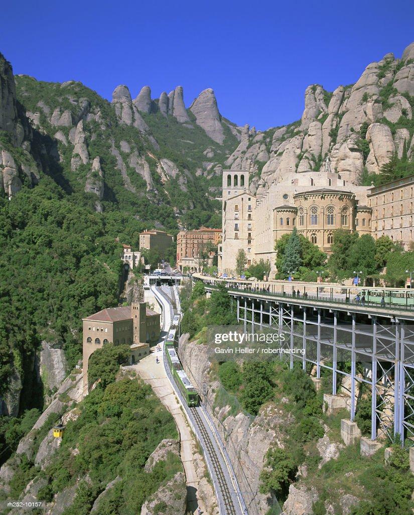 Montserrat Monastery founded in 1025, Catalunya Catalonia Cataluna, Spain, Europe : Foto de stock
