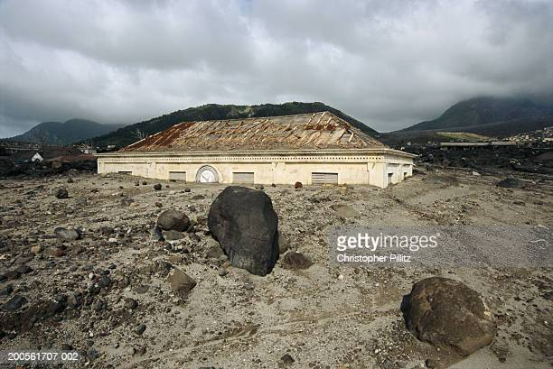 Montserrat,ruined Court House after volcanic eruption in Plymouth town.