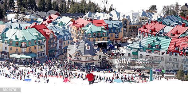 mont-tremblant ski village - mont tremblant stock pictures, royalty-free photos & images