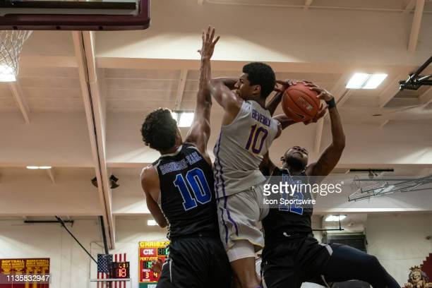Montverde Eagles guard Harlond Beverly during the Geico National High School basketball tournament semifinal round game between the IMG Academy...