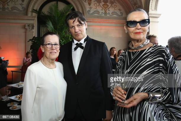 Monty Burnham Rodrigo Basilicata and Maryse Gaspard attend Pierre Cardin's 95th Birthday Celebration during the Pierre Cardin 70 Years of Innovation...
