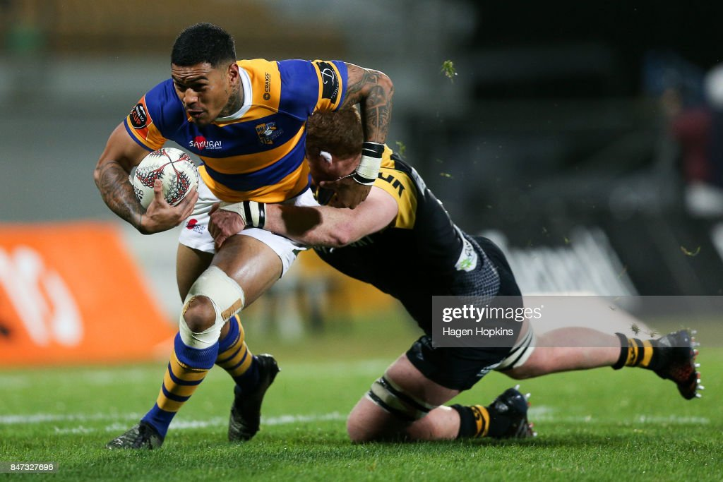 Monty Ioane of Bay of Plenty is tackled by Brad Tucker of Taranaki during the round five Mitre 10 Cup match between Taranaki and Bay of Plenty at Yarrow Stadium on September 15, 2017 in New Plymouth, New Zealand.