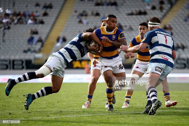 Monty Ioane of Bay of Plenty is tackled during the round seven Mitre 10 Cup match between Auckland and Bay of Plenty on September 30 2017 in Auckland...