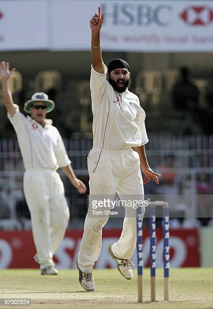 Monty Panesar of England appeals during day five of the First Test between India and England at the VCA Stadium on March 4, 2006 in Nagpur, India.