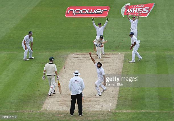 Monty Panesar of England appeals unsuccessfully for the wicket of Marcus North of Australia during day three of the npower 1st Ashes Test Match...
