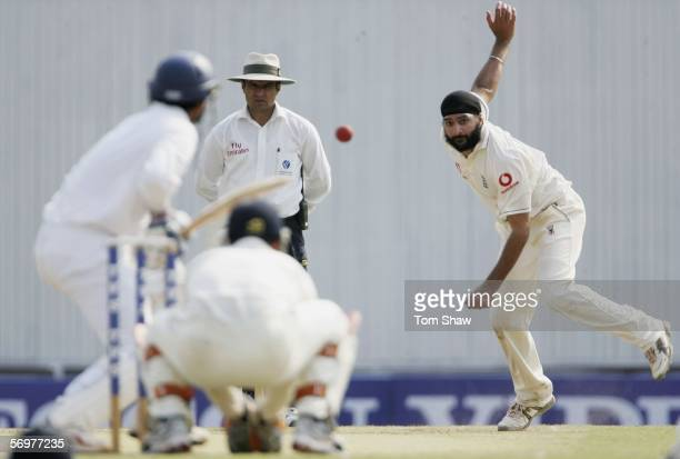 Monty Panesar of England bowls during day two of the First Test between India and England at the VCA Stadium on March 2 2006 in Nagpur India