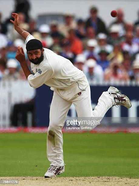 Monty Panesar of England bowls during day two of the Second Test match between England and India at Trent Bridge on July 28 2007 in Nottingham England