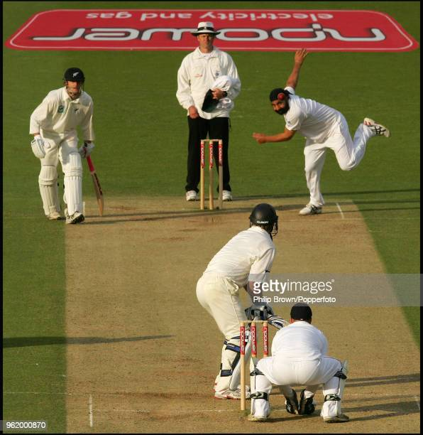 Monty Panesar of England bowls to New Zealand batsman Jamie How near the end of day four of the 1st Test match between England and New Zealand at...