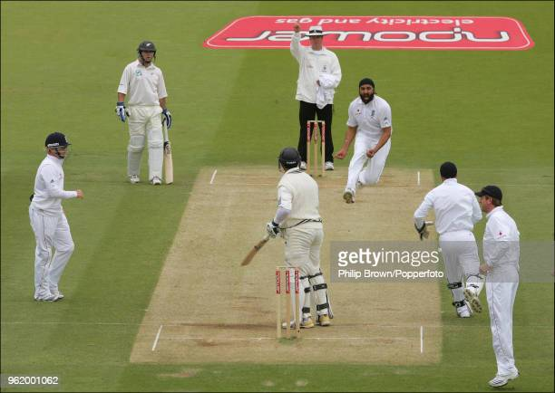 Monty Panesar of England celebrates after taking the wicket of Ross Taylor of New Zealand during the 1st Test match between England and New Zealand...
