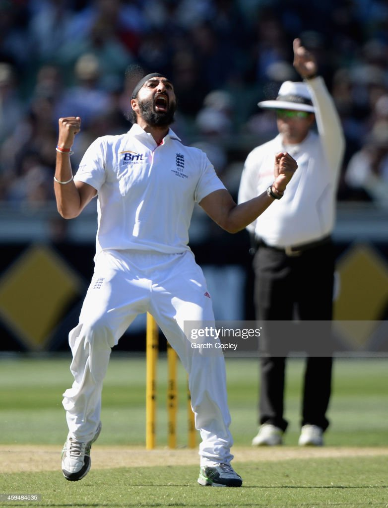Monty Panesar of England celebrates dismissing Brad Haddin of Australia, the decision was reversed after an review to the 3rd umpire during day two of the Fourth Ashes Test Match between Australia and England at Melbourne Cricket Ground on December 27, 2013 in Melbourne, Australia.