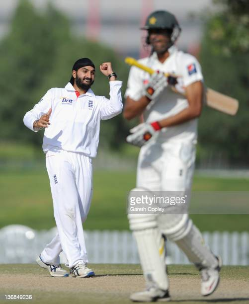 Monty Panesar of England celebrates dismissing Mohammad Talha of Pakistan Cricket Board XI during the tour match between England and Pakistan Cricket...