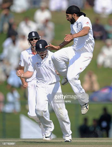 Monty Panesar of England celebrates dismissing Younus Khan of Pakistan during the second Test match between Pakistan and England at Sheikh Zayed...