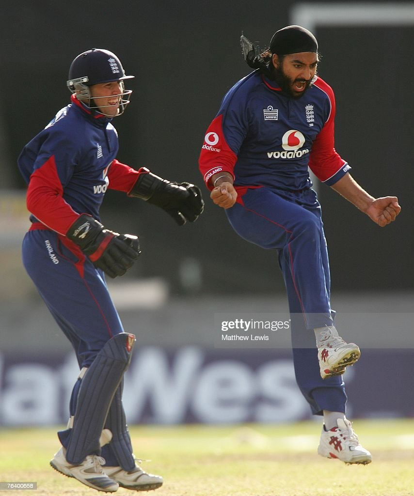 Monty Panesar of England celebrates taking the wicket of Mahendra Dhoni of India during the Fourth NatWest Series One Day International Match between England and India at Old Trafford on August 30, 2007 in Manchester, England.