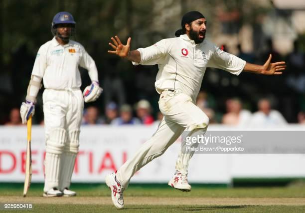 Monty Panesar of England celebrates the wicket of Prasanna Jayawardene of Sri Lanka during the 1st Test match between Sri Lanka and England at...