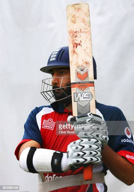 Monty Panesar of England looks on after playing a shot during a nets session at Seddon Park on March 4 2008 in Hamilton New Zealand