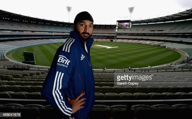 Monty Panesar of England poses for a portrait after a press conference at Melbourne Cricket Ground on December 23 2013 in Melbourne Australia