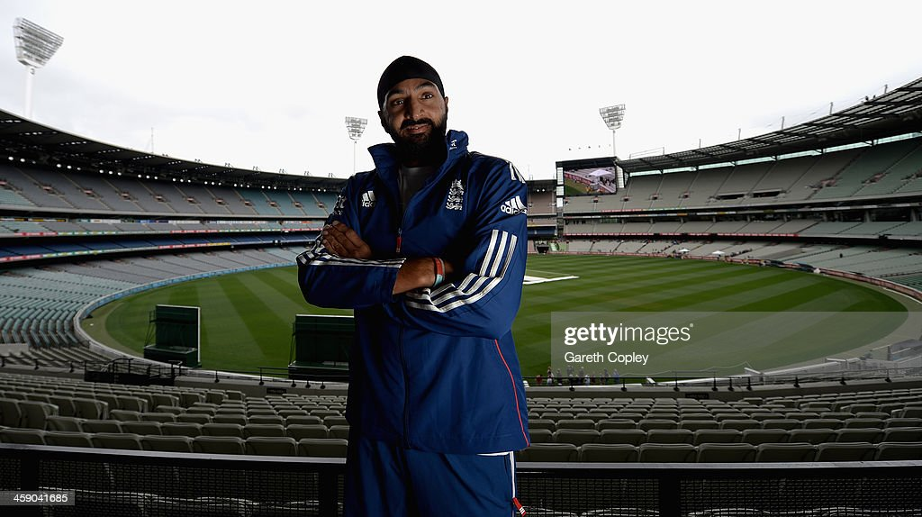 Monty Panesar of England poses for a portrait after a press conference at Melbourne Cricket Ground on December 23, 2013 in Melbourne, Australia.
