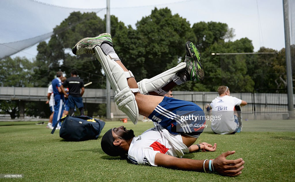 Monty Panesar of England warms up during an England nets session at Melbourne Cricket Ground on December 25, 2013 in Melbourne, Australia.