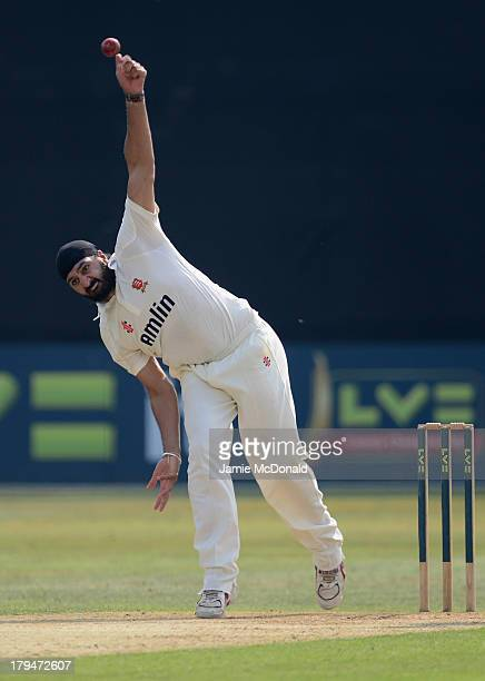 Monty Panesar of Essex bowls during day two of the LV County Championship Division Two game between Essex and Worcestershire at Ford County Ground on...