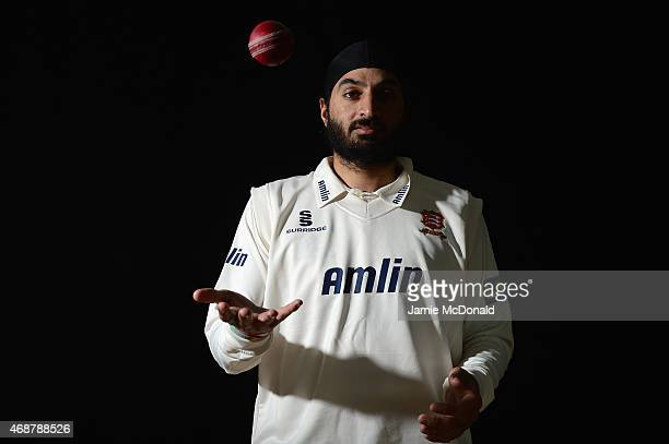 Monty Panesar of Essex poses during an Essex CCC Photocall on April 7 2015 in Chelmsford England