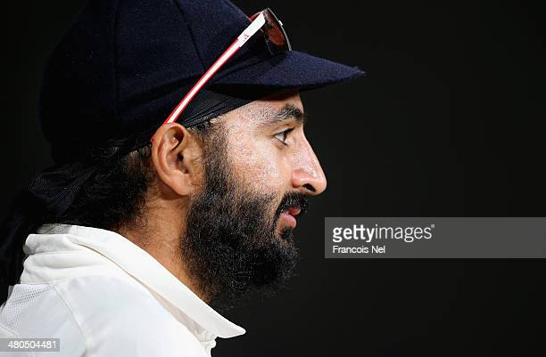 Monty Panesar of Marylebone Cricket Club looks on during day three of the Champion County match between Marylebone Cricket Club and Durham at Sheikh...