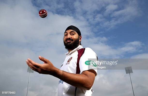 Monty Panesar of Northamptonshire CCC poses for a portrait during the media day held at The County Ground on April 8 2016 in Northampton England