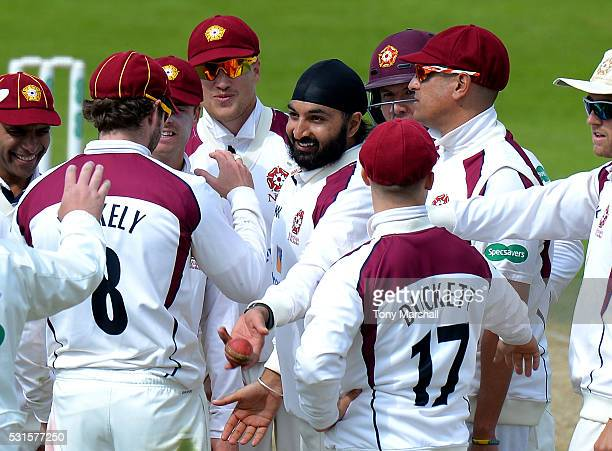 Monty Panesar of Northamptonshire celebrates taking the wicket of Sam Northeast of Kent during day one of the Specsavers County Championship Division...